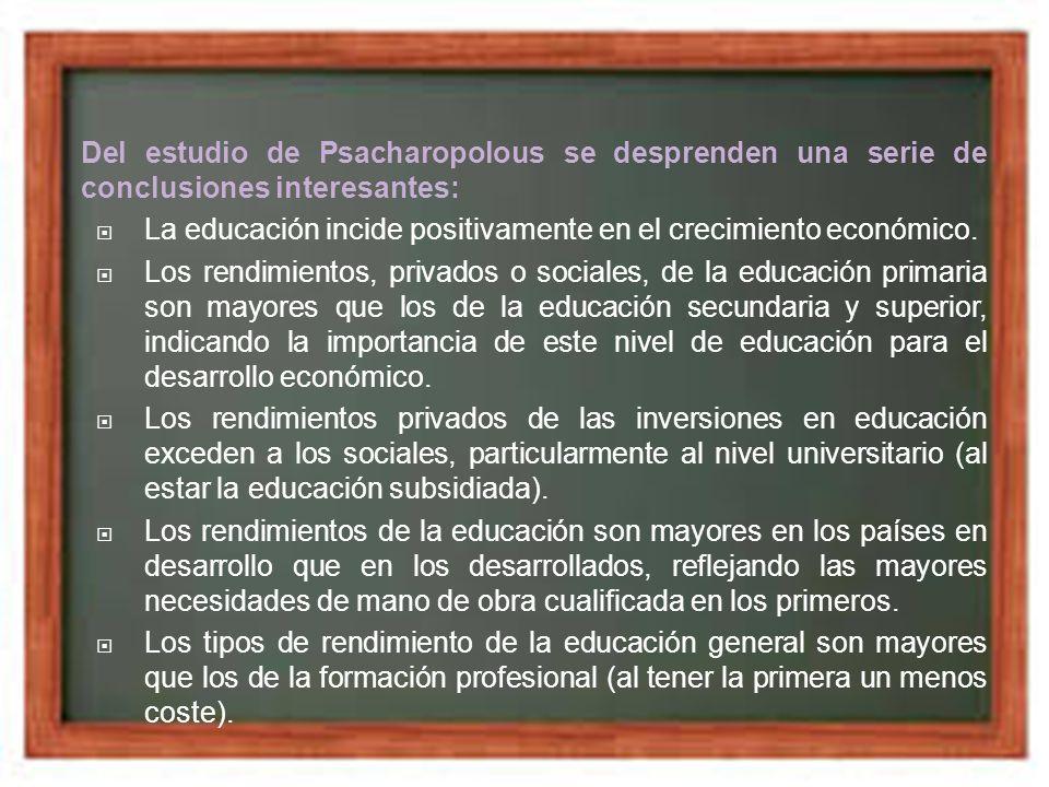 Del estudio de Psacharopolous se desprenden una serie de conclusiones interesantes:
