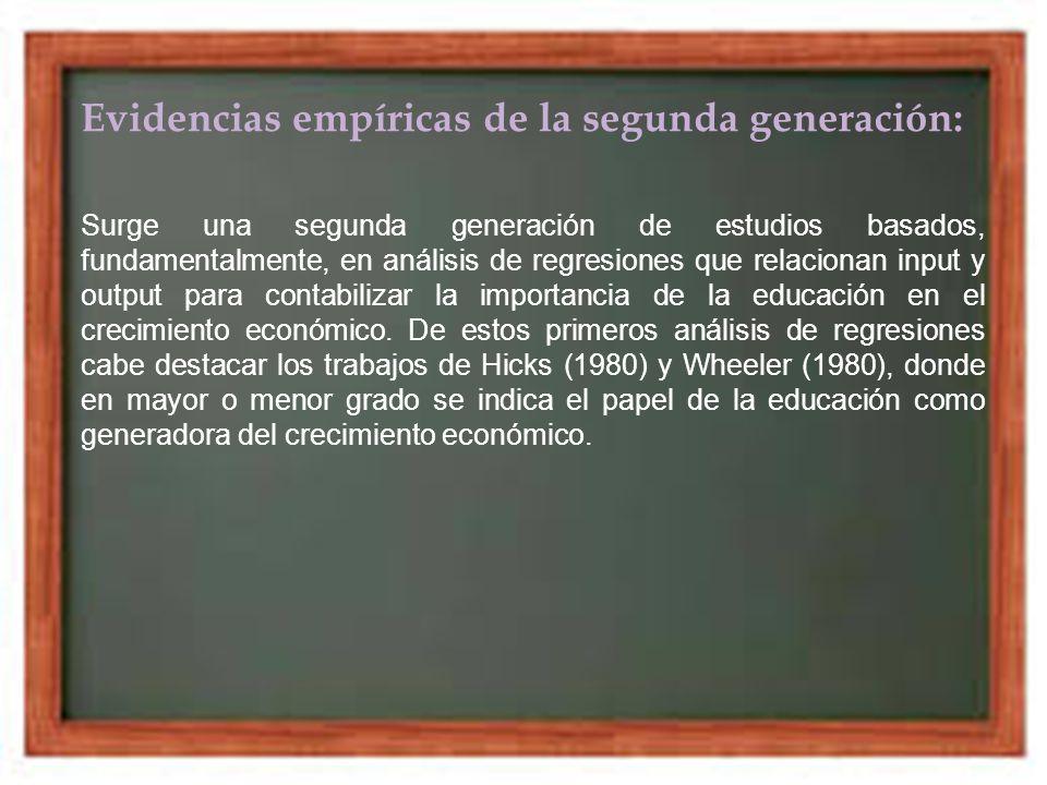 Evidencias empíricas de la segunda generación: