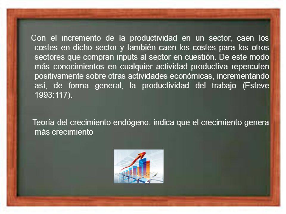 Con el incremento de la productividad en un sector, caen los costes en dicho sector y también caen los costes para los otros sectores que compran inputs al sector en cuestión. De este modo más conocimientos en cualquier actividad productiva repercuten positivamente sobre otras actividades económicas, incrementando así, de forma general, la productividad del trabajo (Esteve 1993:117).