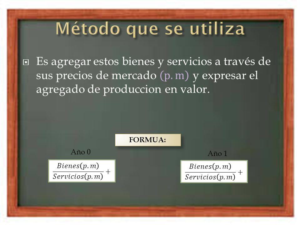 Método que se utiliza Es agregar estos bienes y servicios a través de sus precios de mercado p.m y expresar el agregado de produccion en valor.