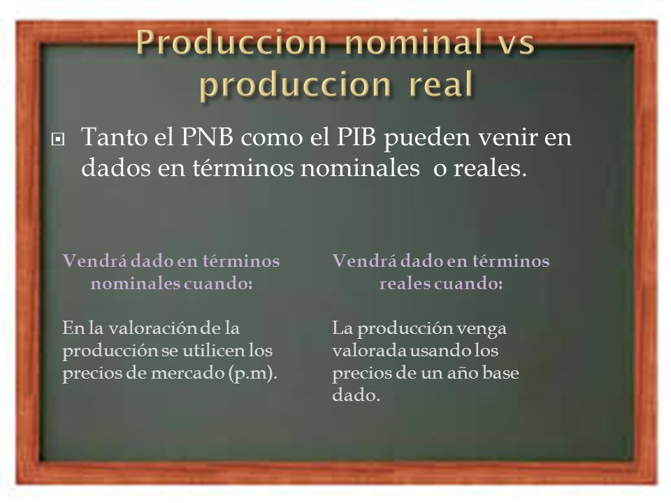 Produccion nominal vs produccion real