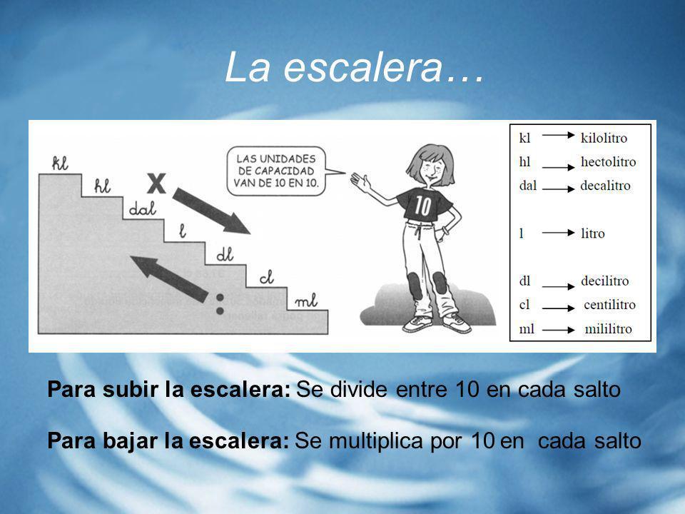 La escalera… Para subir la escalera: Se divide entre 10 en cada salto