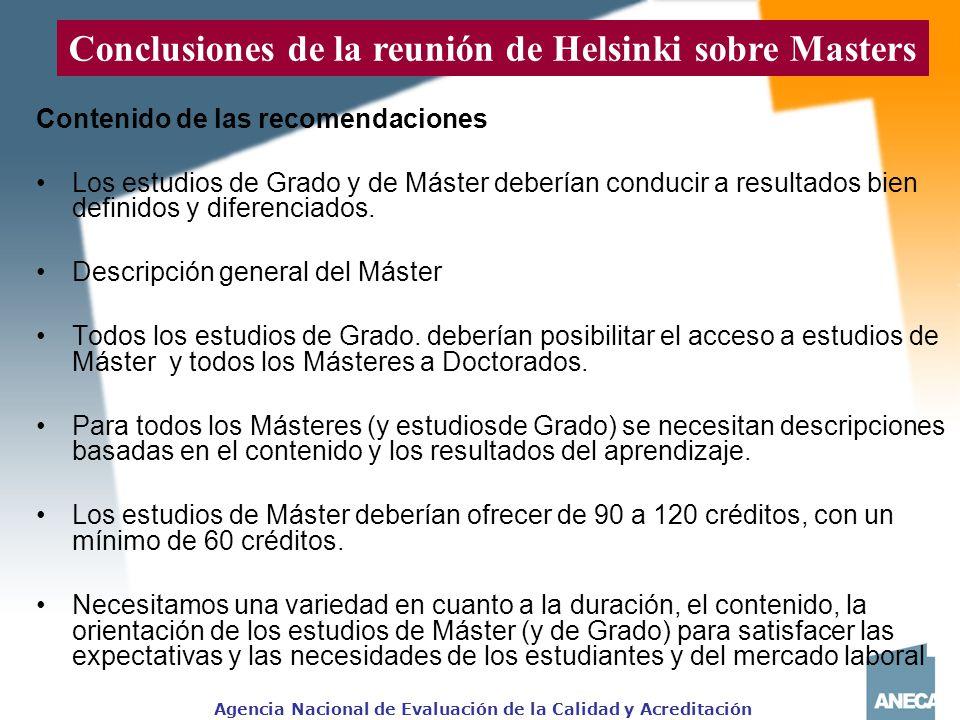 Conclusiones de la reunión de Helsinki sobre Masters