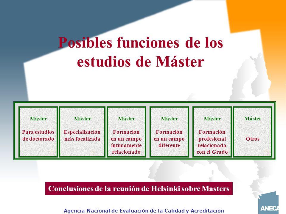 Posibles funciones de los estudios de Máster