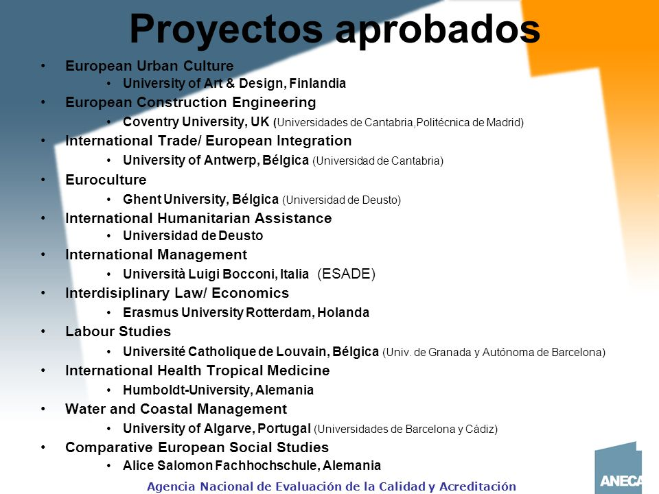 Proyectos aprobados European Urban Culture