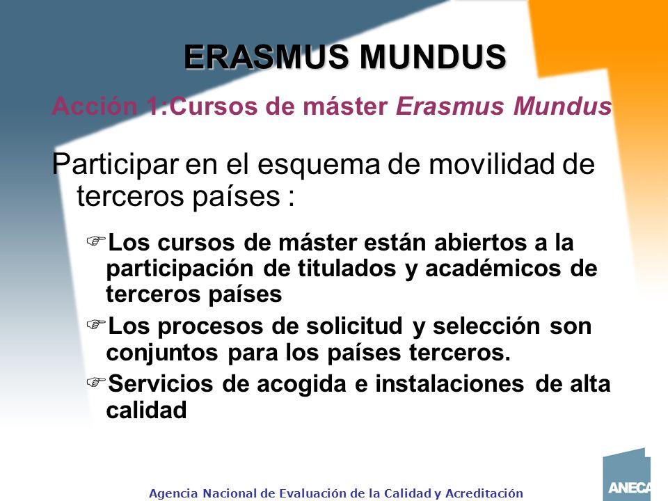 ERASMUS MUNDUS Acción 1:Cursos de máster Erasmus Mundus. Participar en el esquema de movilidad de terceros países :