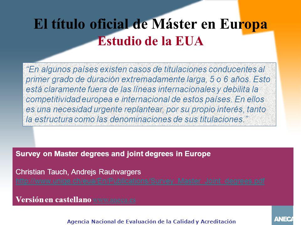 El título oficial de Máster en Europa Estudio de la EUA