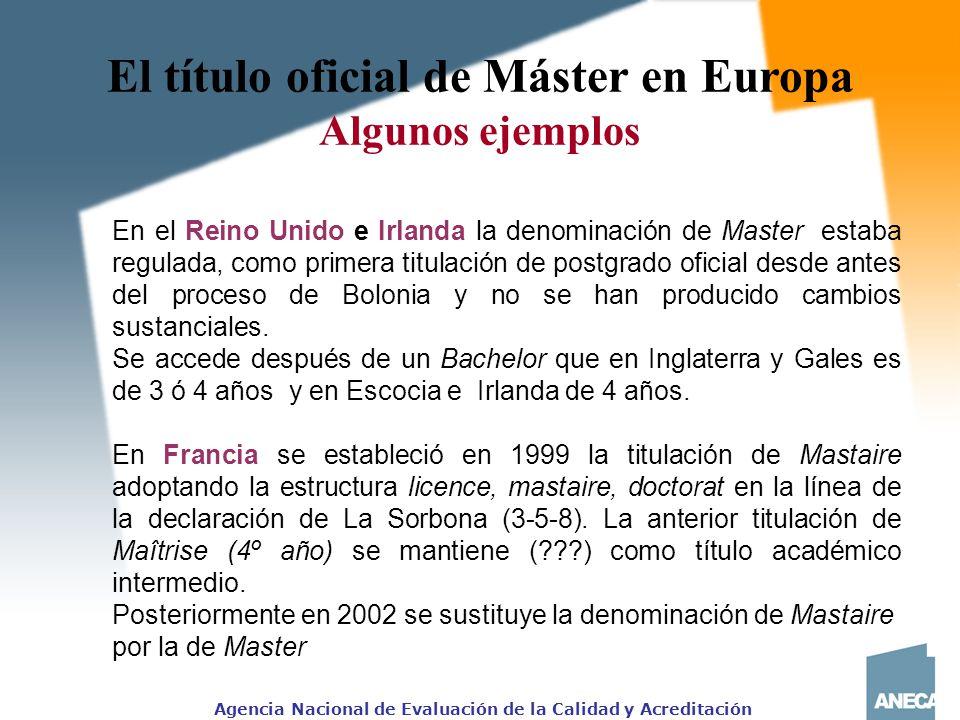 El título oficial de Máster en Europa Algunos ejemplos