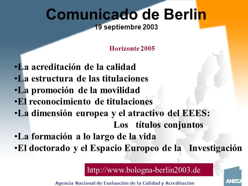 Comunicado de Berlin La acreditación de la calidad