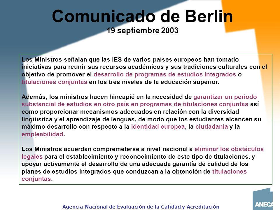 Comunicado de Berlin 19 septiembre 2003