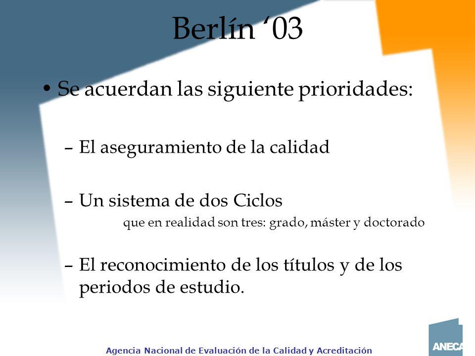 Berlín '03 Se acuerdan las siguiente prioridades: