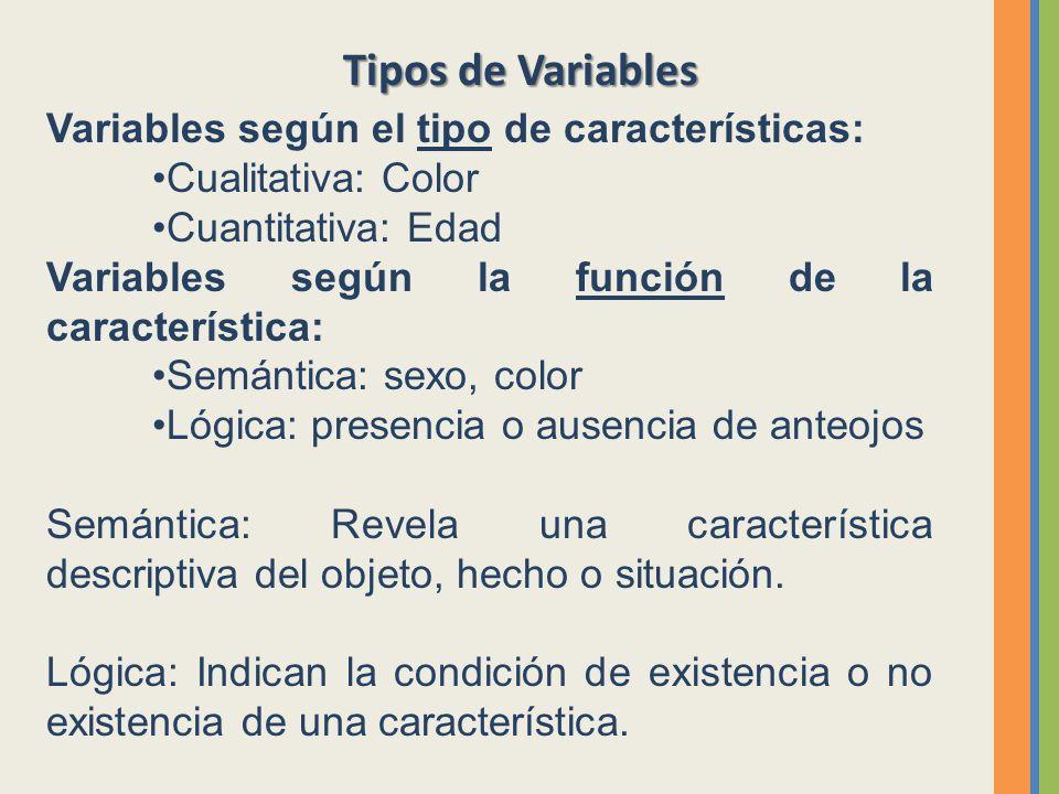 Tipos de Variables Variables según el tipo de características: