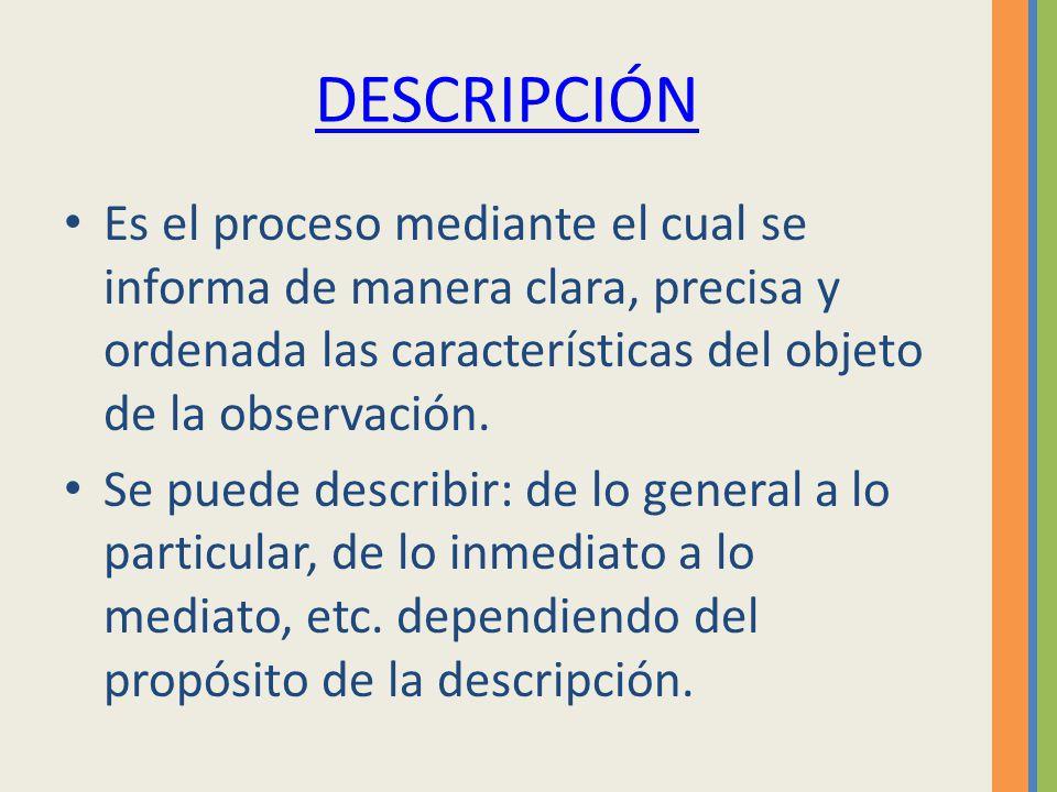 DESCRIPCIÓN Es el proceso mediante el cual se informa de manera clara, precisa y ordenada las características del objeto de la observación.