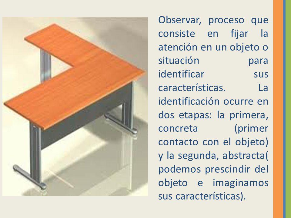 Observar, proceso que consiste en fijar la atención en un objeto o situación para identificar sus características.