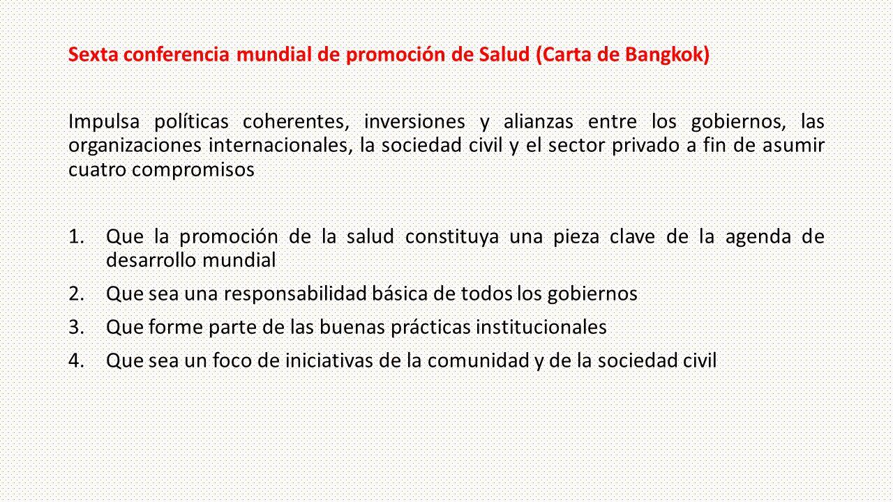 Sexta conferencia mundial de promoción de Salud (Carta de Bangkok)