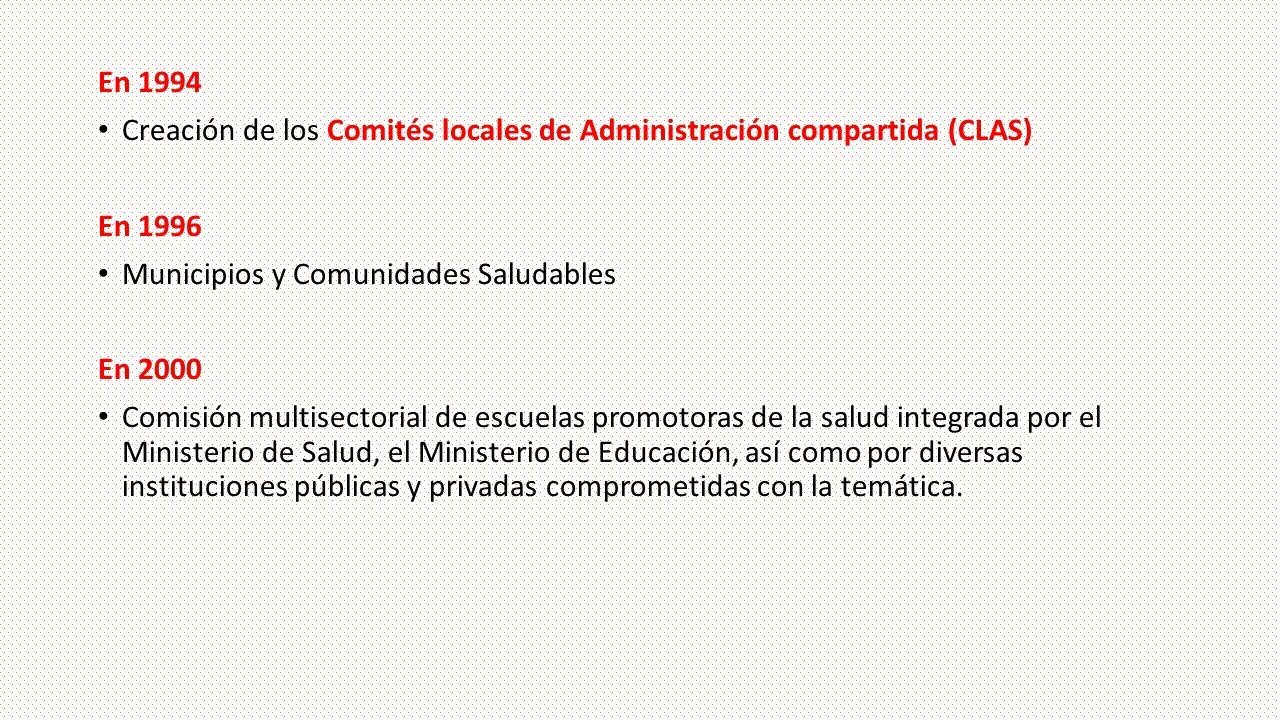 En 1994 Creación de los Comités locales de Administración compartida (CLAS) En 1996. Municipios y Comunidades Saludables.