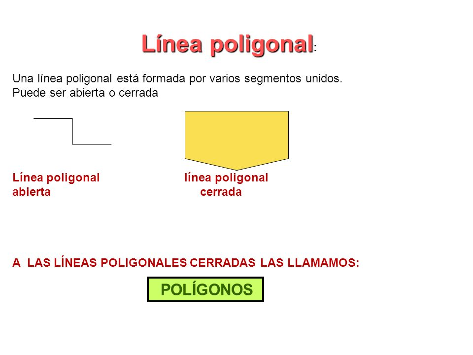Línea poligonal: Una línea poligonal está formada por varios segmentos unidos. Puede ser abierta o cerrada.
