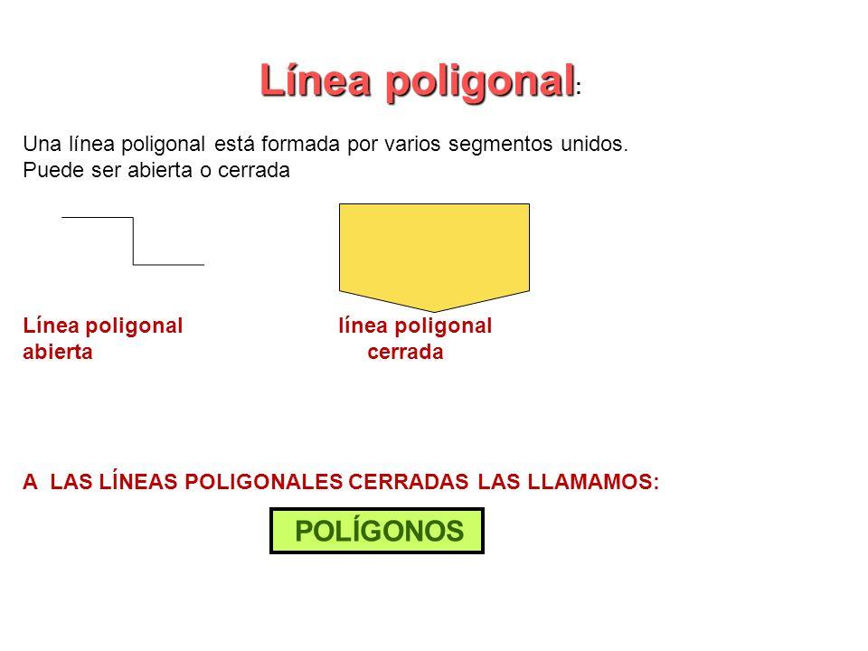 Línea poligonal:Una línea poligonal está formada por varios segmentos unidos. Puede ser abierta o cerrada.