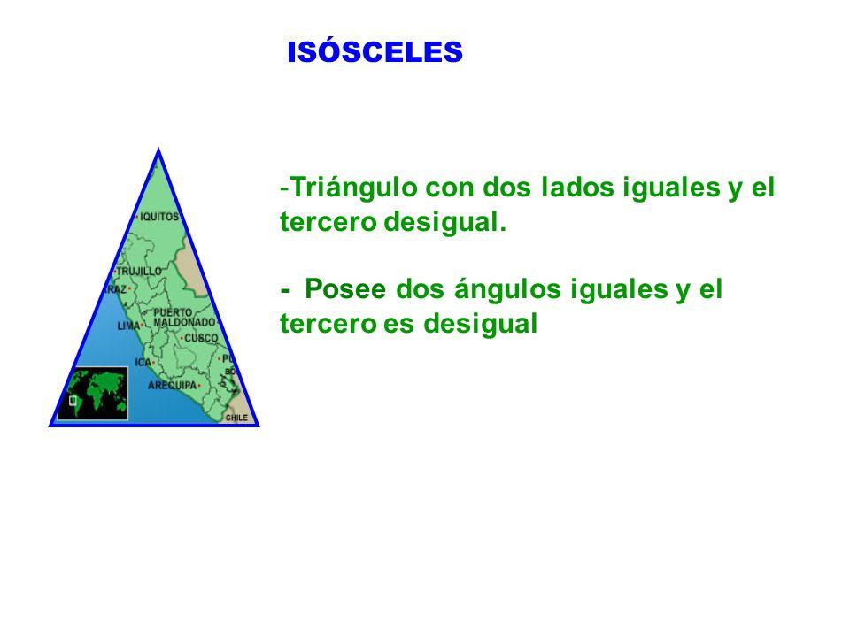 ISÓSCELES Triángulo con dos lados iguales y el tercero desigual.
