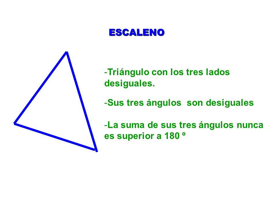 ESCALENO Triángulo con los tres lados desiguales. Sus tres ángulos son desiguales.