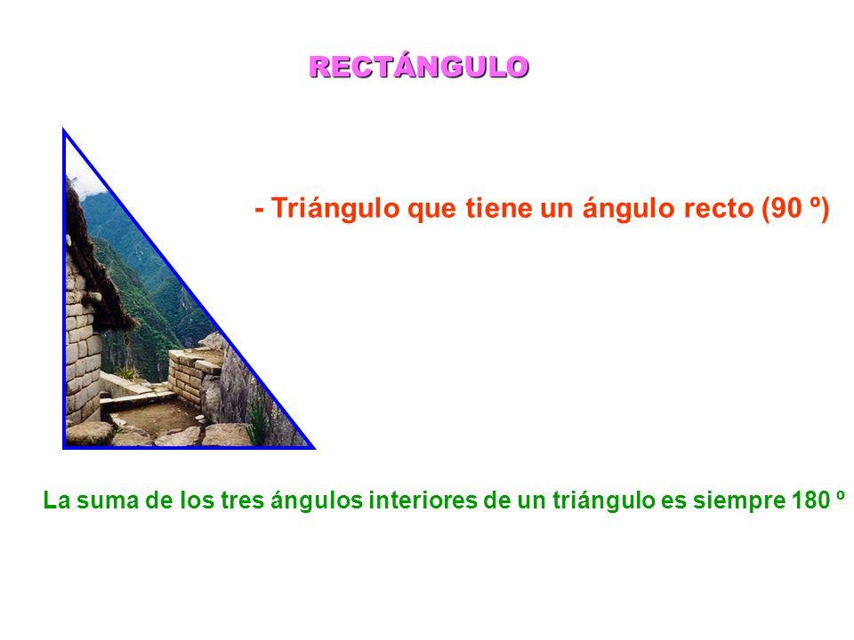 - Triángulo que tiene un ángulo recto (90 º)