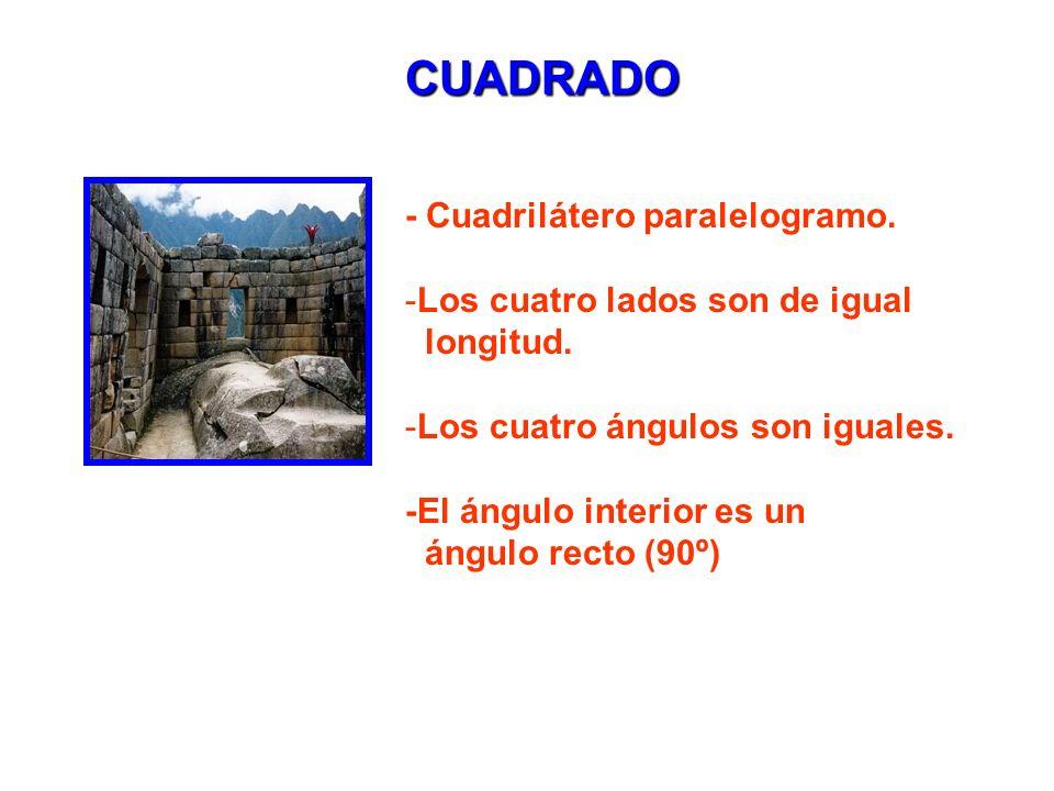 CUADRADO - Cuadrilátero paralelogramo. Los cuatro lados son de igual