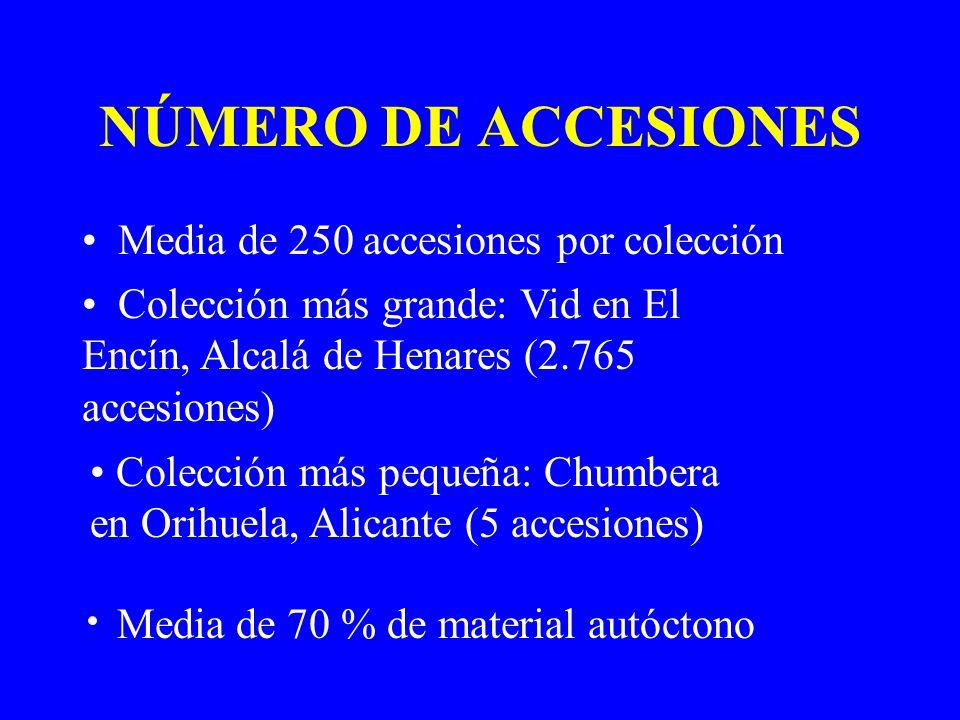 NÚMERO DE ACCESIONES Media de 250 accesiones por colección
