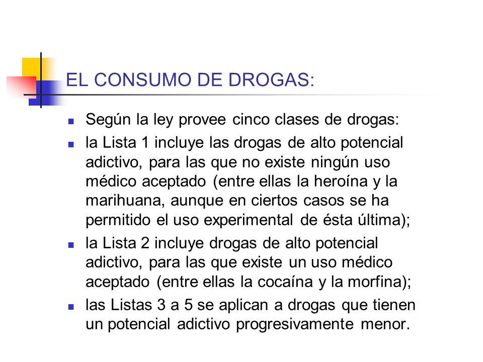 EL CONSUMO DE DROGAS: Según la ley provee cinco clases de drogas: