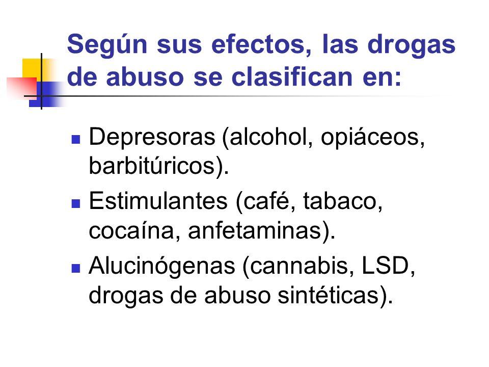 Según sus efectos, las drogas de abuso se clasifican en: