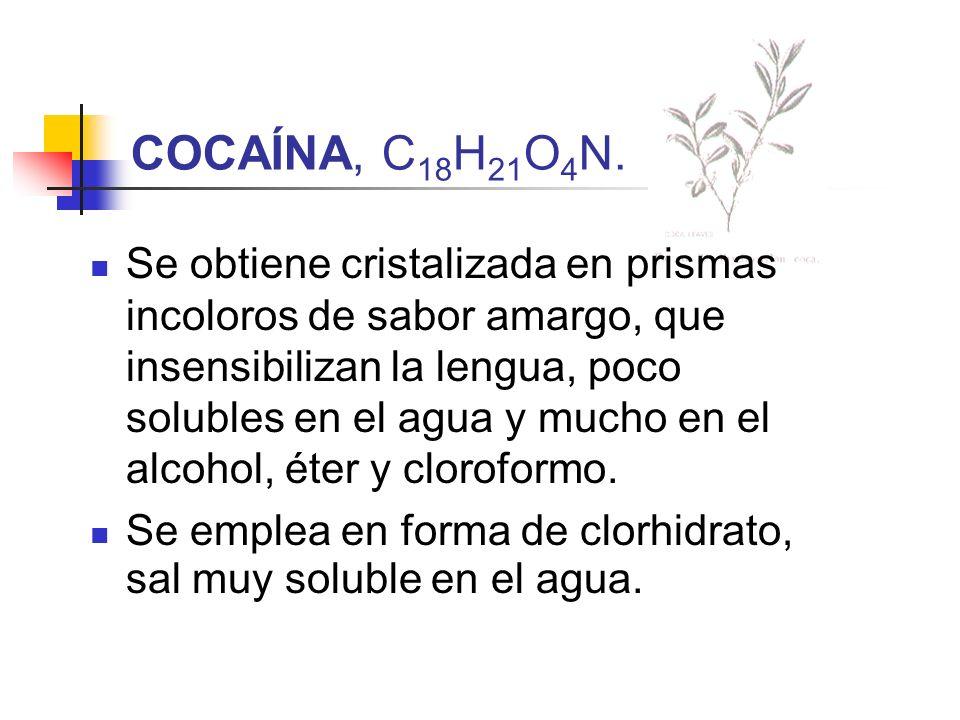 COCAÍNA, C18H21O4N.