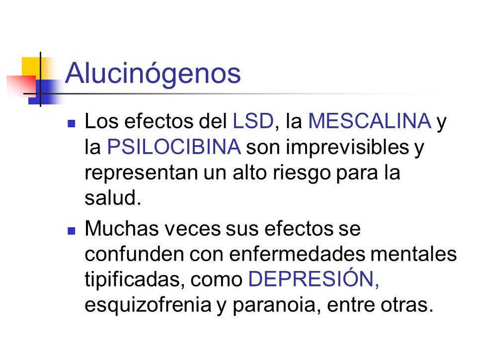 Alucinógenos Los efectos del LSD, la MESCALINA y la PSILOCIBINA son imprevisibles y representan un alto riesgo para la salud.