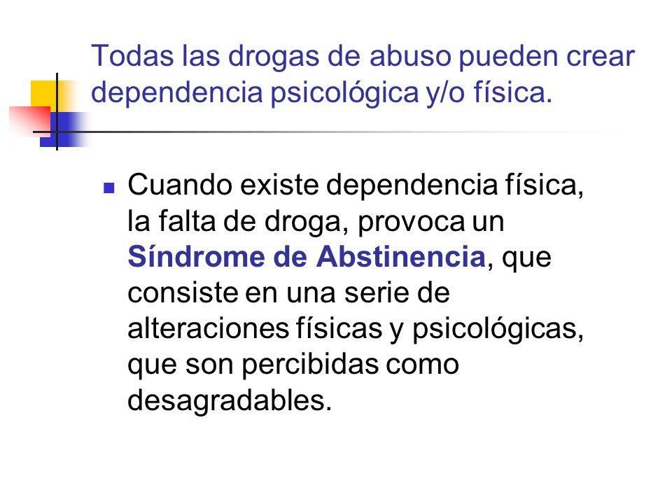 Todas las drogas de abuso pueden crear dependencia psicológica y/o física.