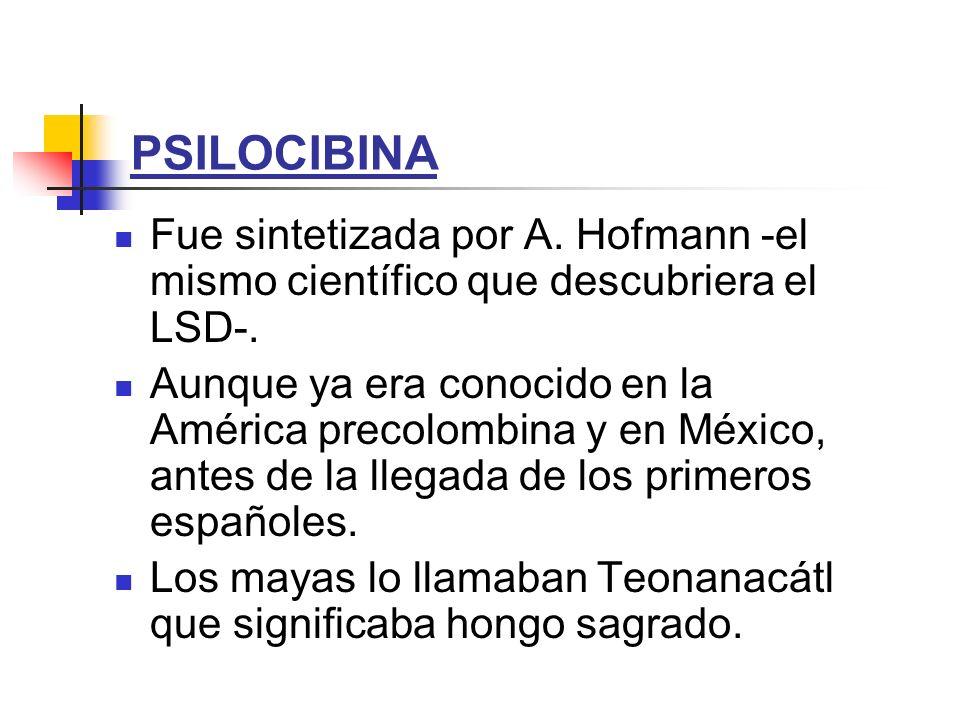 PSILOCIBINA Fue sintetizada por A. Hofmann -el mismo científico que descubriera el LSD-.
