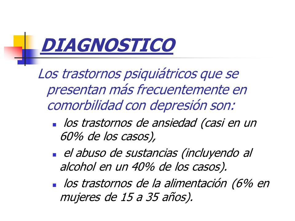 DIAGNOSTICO Los trastornos psiquiátricos que se presentan más frecuentemente en comorbilidad con depresión son: