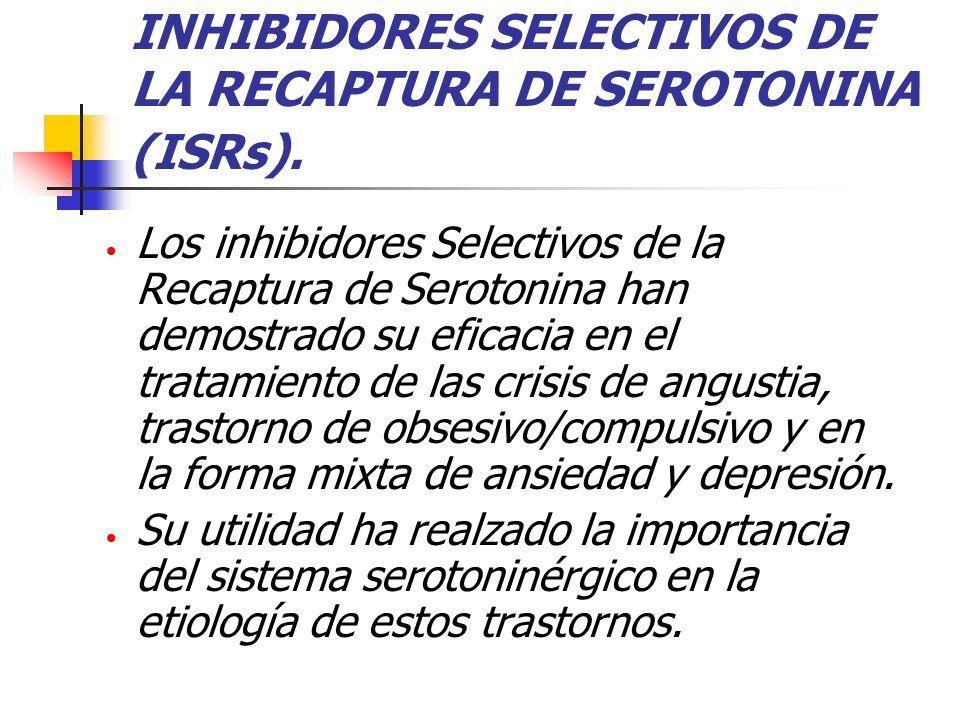 INHIBIDORES SELECTIVOS DE LA RECAPTURA DE SEROTONINA (ISRs).
