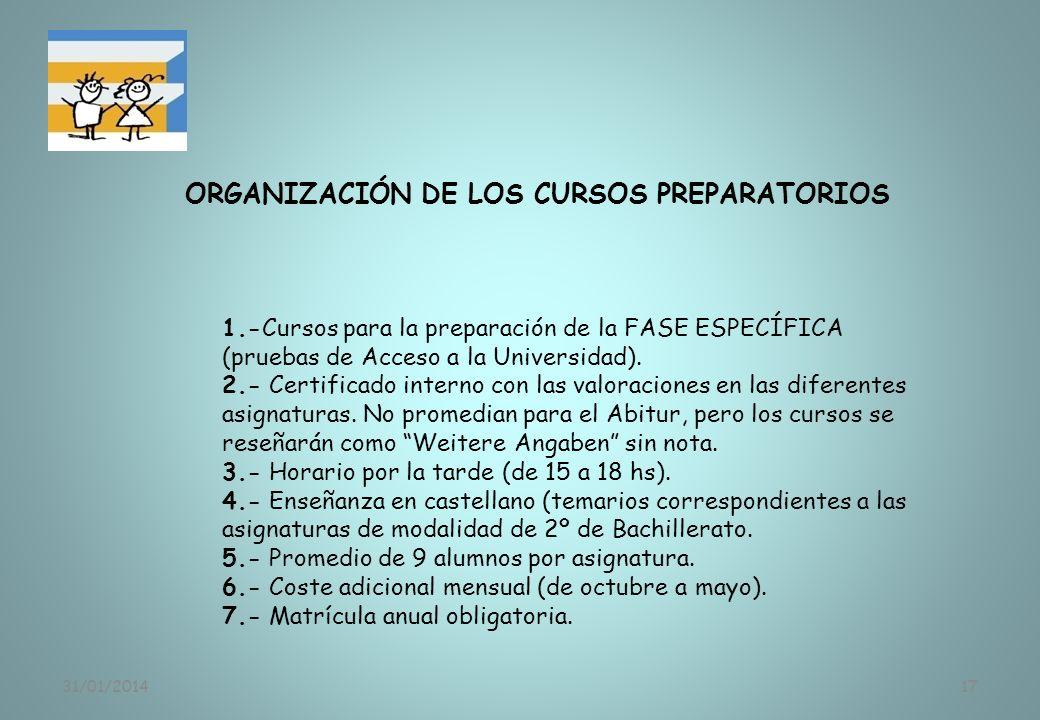 ORGANIZACIÓN DE LOS CURSOS PREPARATORIOS