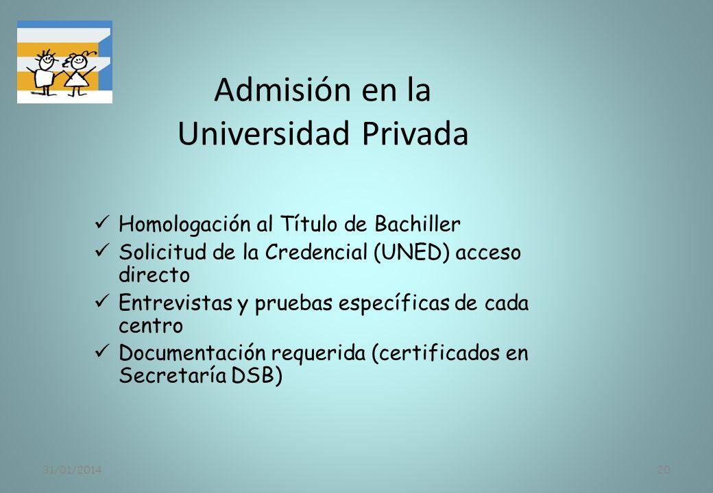 Admisión en la Universidad Privada
