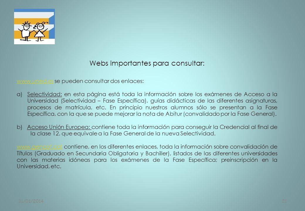 Webs importantes para consultar: