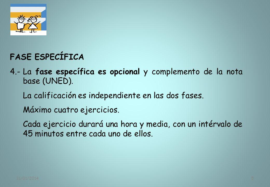 La calificación es independiente en las dos fases.