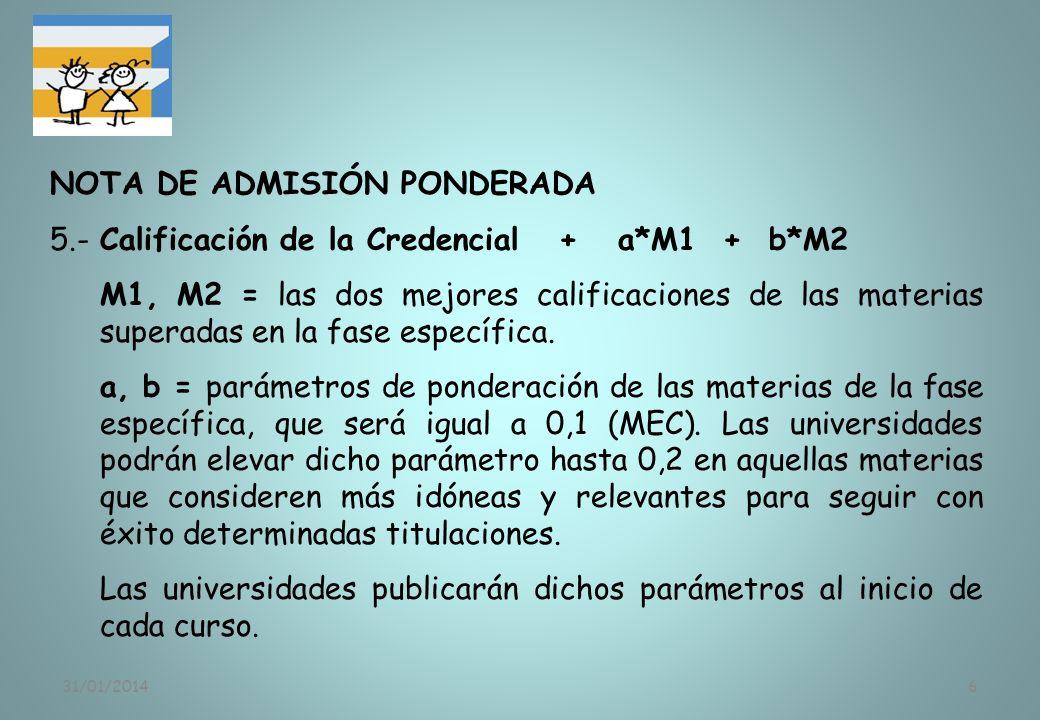 NOTA DE ADMISIÓN PONDERADA