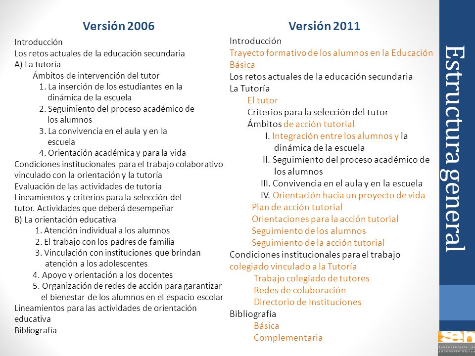 Estructura general Versión 2006 Versión 2011