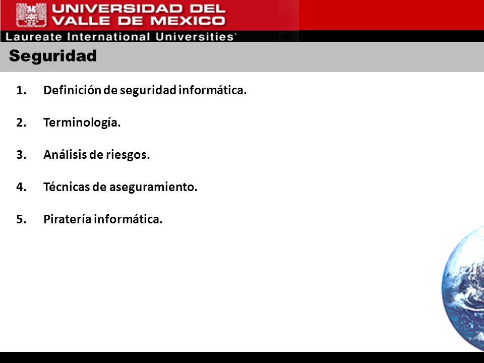 Seguridad Definición de seguridad informática. Terminología.