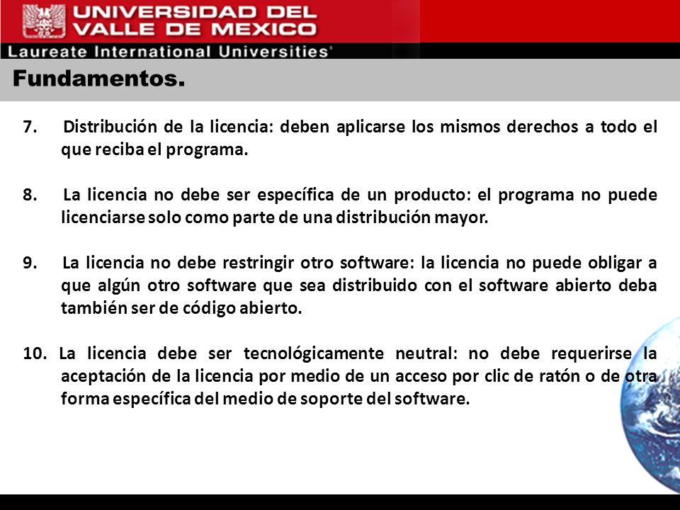Fundamentos. 7. Distribución de la licencia: deben aplicarse los mismos derechos a todo el que reciba el programa.