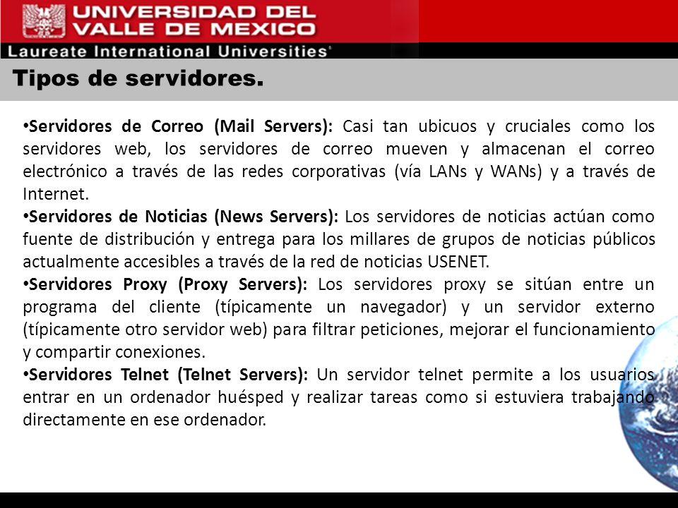 Tipos de servidores.