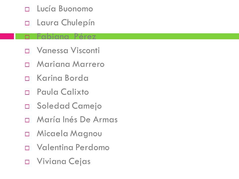 Lucía Buonomo Laura Chulepín. Fabiana Pérez. Vanessa Visconti. Mariana Marrero. Karina Borda. Paula Calixto.