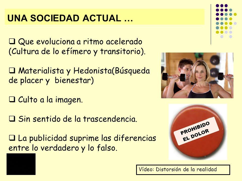 UNA SOCIEDAD ACTUAL … Que evoluciona a ritmo acelerado (Cultura de lo efímero y transitorio).