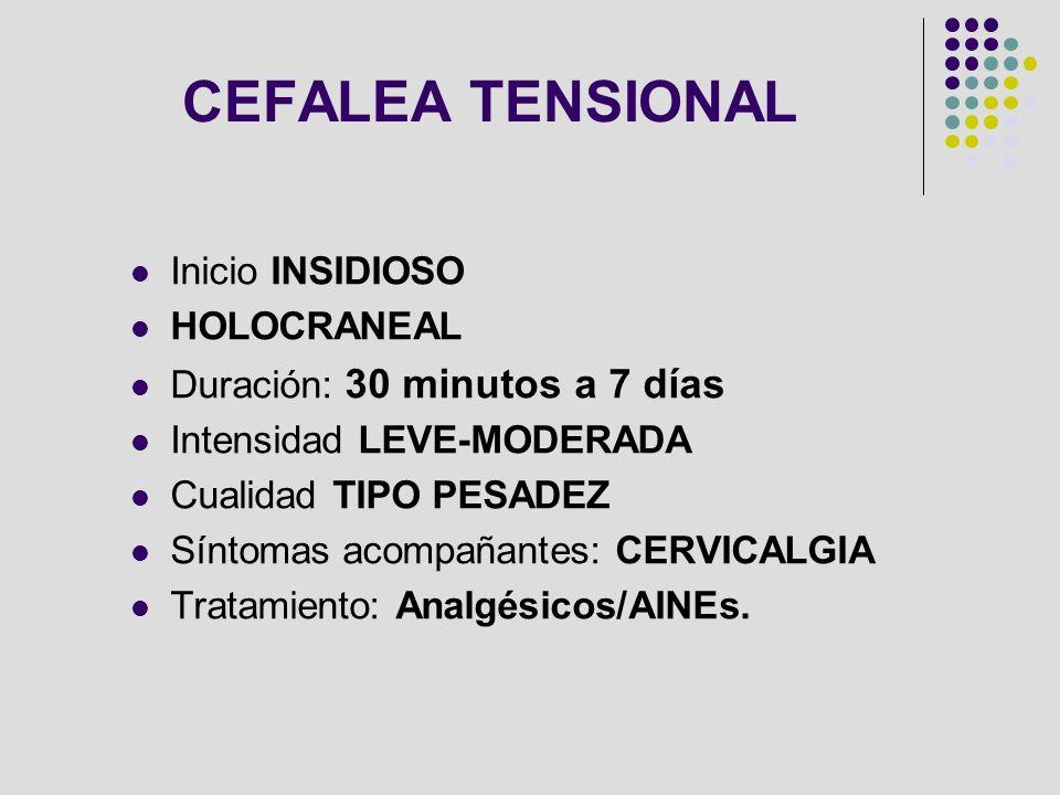 CEFALEA TENSIONAL Inicio INSIDIOSO HOLOCRANEAL