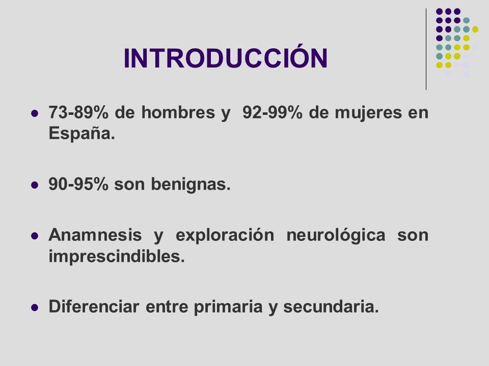 INTRODUCCIÓN 73-89% de hombres y 92-99% de mujeres en España.