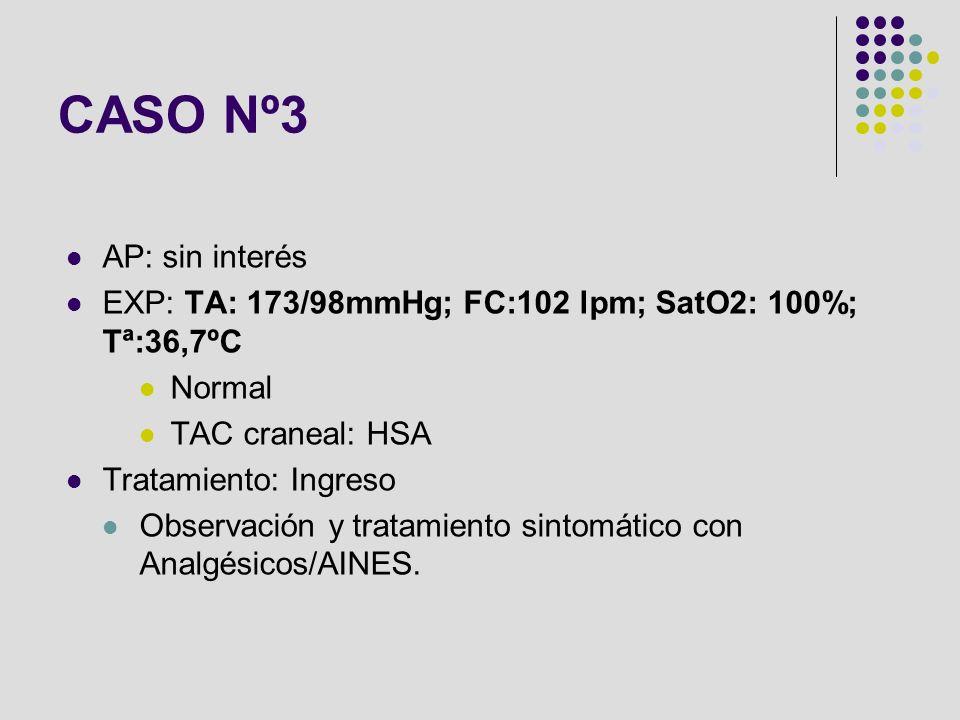 CASO Nº3 AP: sin interés. EXP: TA: 173/98mmHg; FC:102 lpm; SatO2: 100%; Tª:36,7ºC. Normal. TAC craneal: HSA.