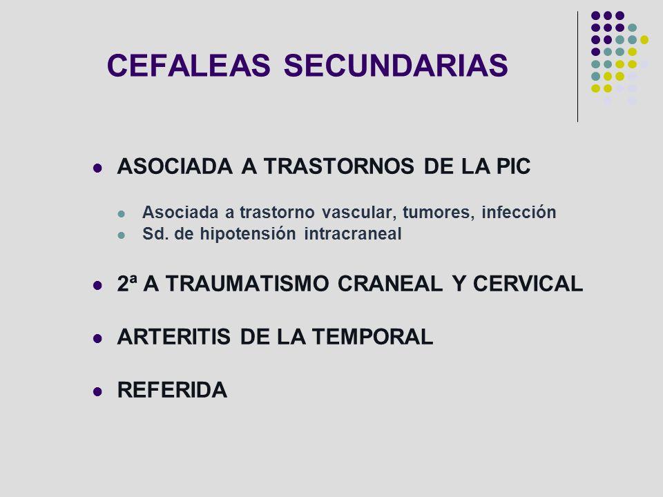 CEFALEAS SECUNDARIAS ASOCIADA A TRASTORNOS DE LA PIC
